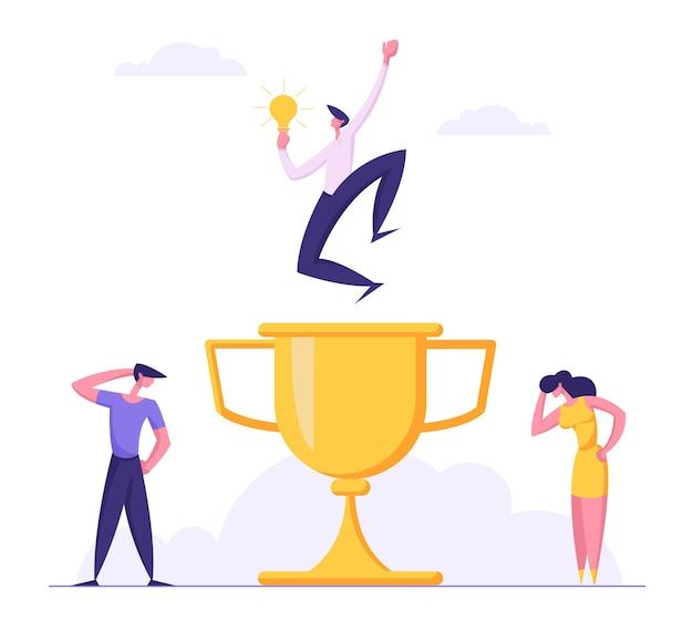 Koncepcja konkurencji biznesowej z ilustracja biznesmen