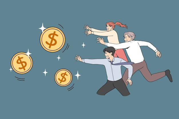 Koncepcja konkurencji pieniądze ludzkie. chciwość bogatego życia. ilustracja wektorowa biegania ludzi na złote monety dolarowe.