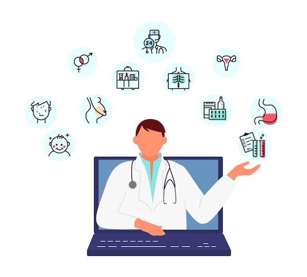 Koncepcja konsultacji lekarza online doradca medyczny oferuje pomoc z ekranu laptopa