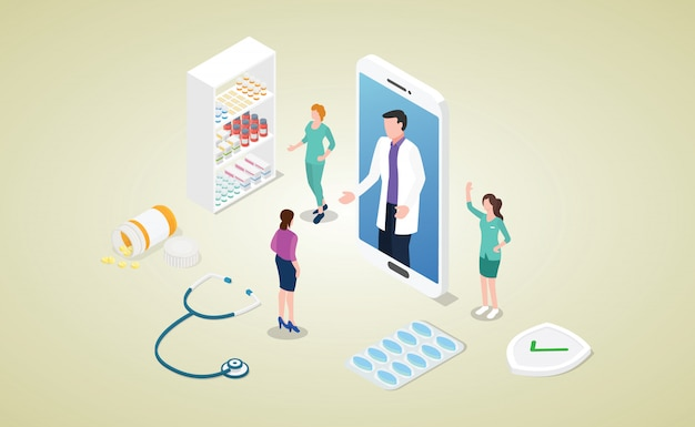 Koncepcja konsultacji lekarza online z aplikacjami na smartfony i nowoczesnym stylu izometrycznym