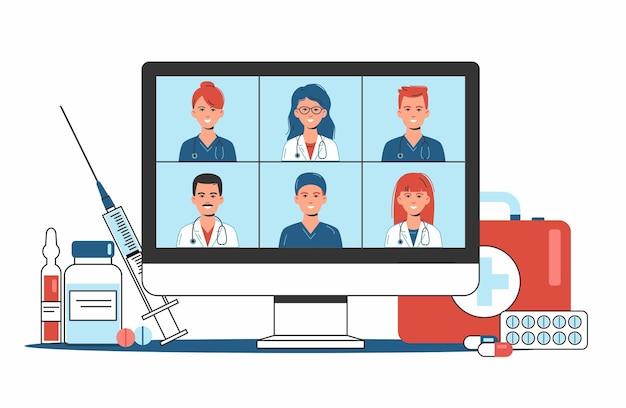 Koncepcja konsultacji medycznych i wsparcia online, usługi opieki zdrowotnej, telekonferencja grupy lekarzy ze stetoskopem na ekranie komputera, wideokonferencja, nowa normalna, płaska ilustracja