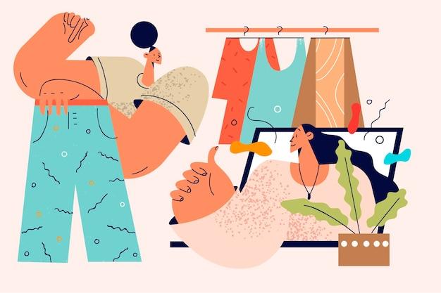 Koncepcja konsultacji stylistki i mody online.