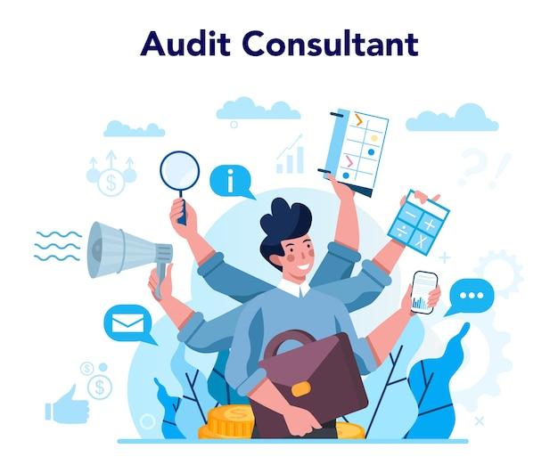 Koncepcja konsultanta ds. audytu. badania i analizy operacji biznesowych. kontrola finansowa i analityka. ilustracja na białym tle płaski wektor
