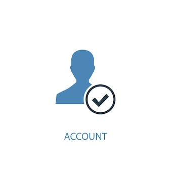Koncepcja konta 2 kolorowa ikona. prosta ilustracja niebieski element. projekt symbolu koncepcji konta. może być używany do internetowego i mobilnego interfejsu użytkownika/ux