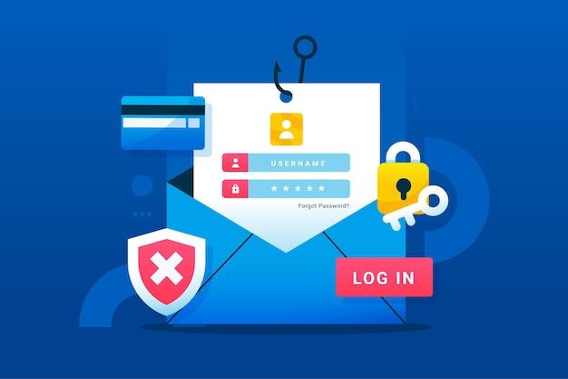 Koncepcja konta phishingowego z kopertą i kartą kredytową