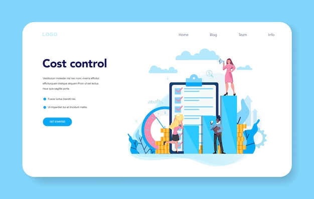 Koncepcja kontroli kosztów baner internetowy lub zestaw strony docelowej