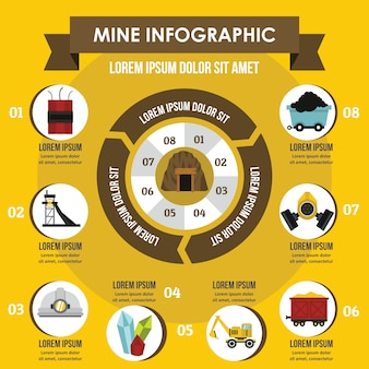 Koncepcja kopalni infographic.