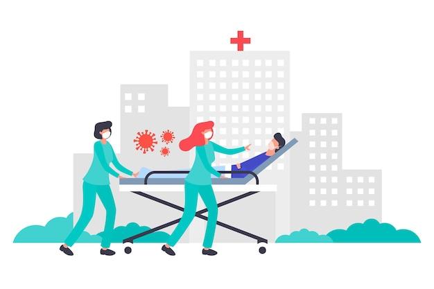 Koncepcja koronawirusa z pacjentem w stanie krytycznym