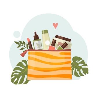 Koncepcja korzystania z kosmetyków organicznych i ilustracji ochrony przyrody