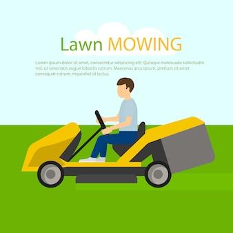 Koncepcja koszenia trawnika ciągnika, płaski