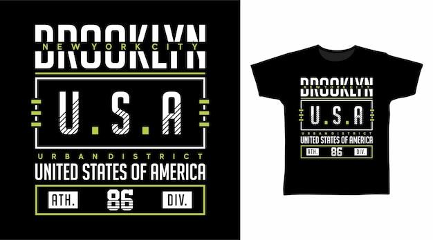 Koncepcja koszulki brooklyn usa typografia
