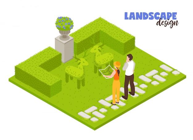 Koncepcja krajobrazowa z zielonym płotem i ogrodników pracujących izometrycznie