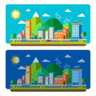 Koncepcja krajobrazy miasta ekologia w płaskiej konstrukcji