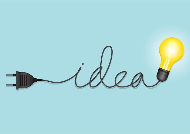 Koncepcja kreatywna pomysł żarówki. ilustracja