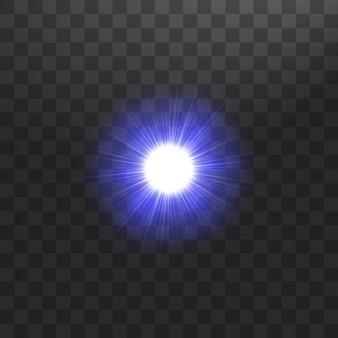 Koncepcja kreatywna świecące gwiazdy efekt świetlny pęka błyskami na przezroczystym tle.