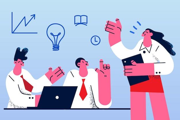 Koncepcja kreatywnego pomysłu negocjacji biznesowych burzy mózgów