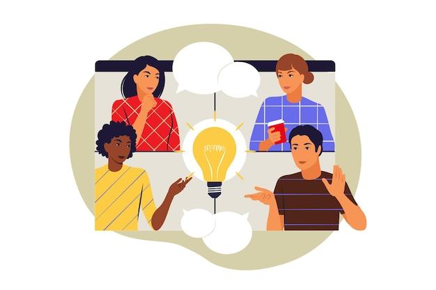 Koncepcja kreatywnego zespołu. koledzy rozmawiają na czacie. ilustracja wektorowa. mieszkanie.