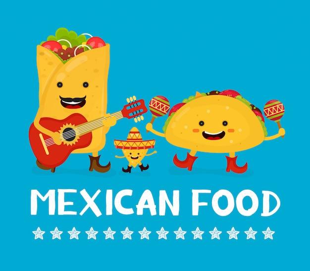 Koncepcja kreatywnych karty meksykańskie jedzenie. wektorowa nowożytna mieszkanie stylu postać z kreskówki ilustracja.