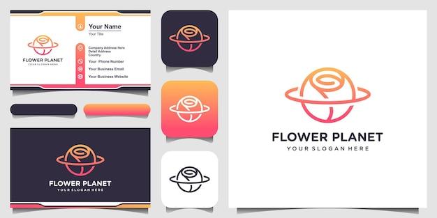 Koncepcja kreatywnych logo kwiat planety i projektowanie wizytówek