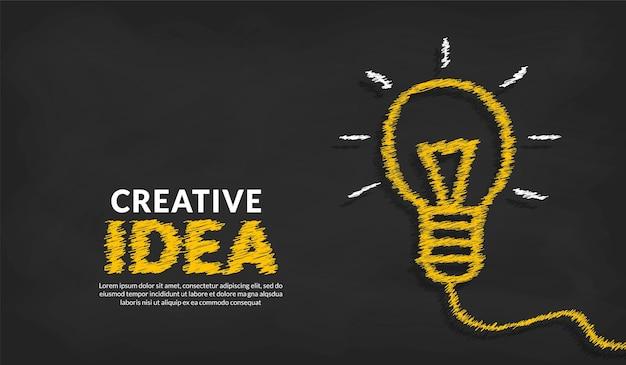 Koncepcja kreatywnych pomysłów z doodle ołówkiem i typografią inspiracji w tle