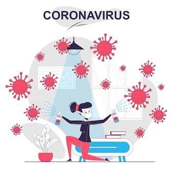 Koncepcja kreskówka na białym tle koronawirusa kobieta rozpylająca dezynfekcję i zwalczająca wirus w domu
