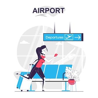 Koncepcja kreskówka na białym tle na lotnisku kobieta z bagażem spieszy na pokład samolotu podróżującego