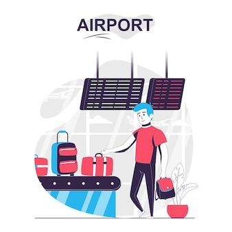 Koncepcja kreskówka na białym tle na lotnisku mężczyzna zabiera swój bagaż w strefie odbioru bagażu na lotnisku