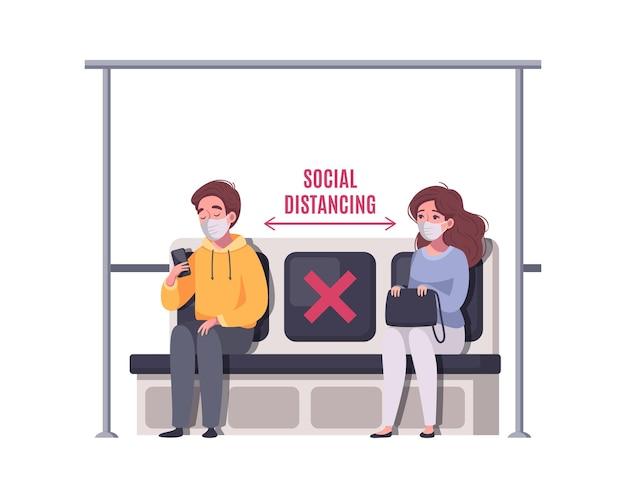 Koncepcja kreskówki dystansowania społecznego z dwoma pasażerami w maskach na ilustracji metra