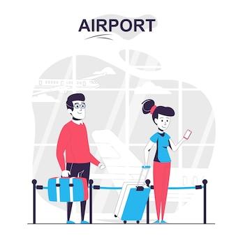 Koncepcja kreskówki na białym tle na lotnisku podróżni z bagażem czekają w kolejce przy kontroli biletów