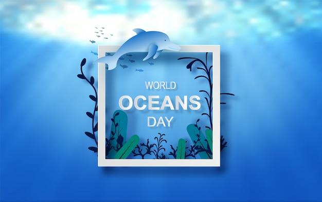 Koncepcja kropli wody światowego dnia oceanów. uroczystość poświęcona ochronie morskiej ziemi i ekosystemowi wodnemu. papier origami niebieski rzemiosła fal morskich. podwodne ramki plakat tło