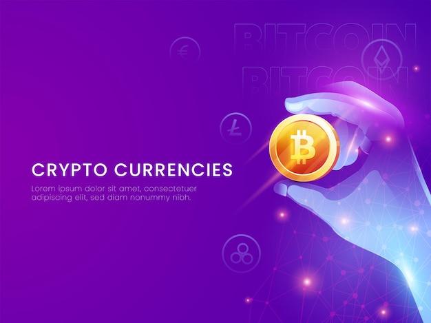 Koncepcja kryptowalut na podstawie plakatu z futurystyczną ręką trzymającą 3d złoty bitcoin na fioletowym tle.