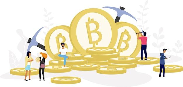 Koncepcja kryptowaluty bitcoin blockchain.