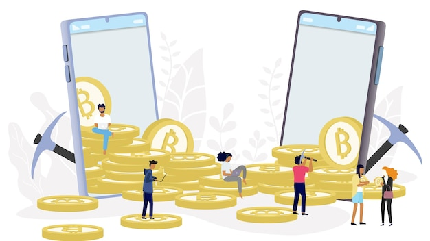 Koncepcja kryptowaluty bitcoin blockchain