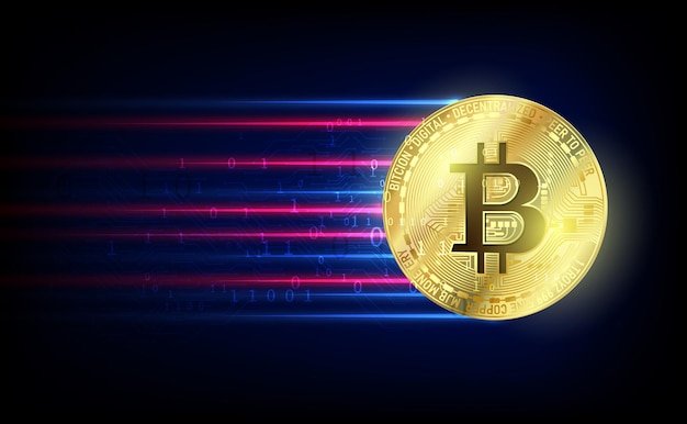 Koncepcja kryptowaluty bitcoin. technologia wektorowa futurystyczny projekt etykiety. świetlisty cyber hologram. cyfrowy futurystyczny motyw science fiction.