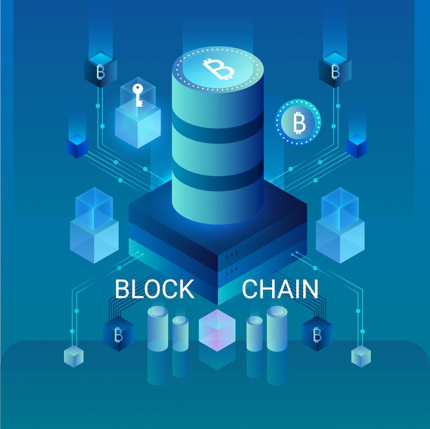 Koncepcja kryptowaluty i łańcucha bloków, centrum zasilane danymi, ilustracja izometryczna przechowywania danych w chmurze. projekt strony internetowej, baner prezentacji.