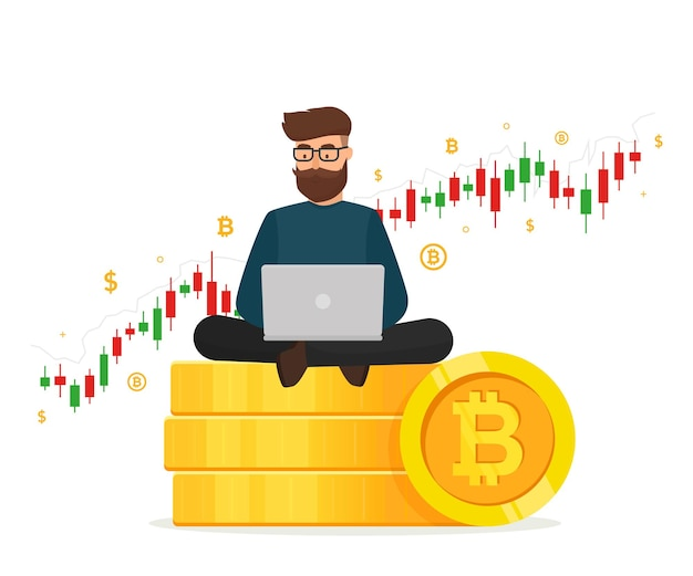 Koncepcja kryptowaluty. młody człowiek siedzi na złote stosy monety z laptopa i wykres wykresu handlu.