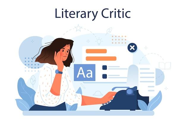 Koncepcja krytyka literackiego. profesjonalny dziennikarz tworzący recenzję i ranking dzieł sztuki. specjalista opiniujący prace twórcze. płaska ilustracja wektorowa