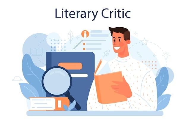 Koncepcja krytyka literackiego. profesjonalny dziennikarz tworzący recenzje i rankingi dzieł sztuki. specjalista opiniujący prace twórcze. płaska ilustracja wektorowa