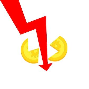 Koncepcja kryzysu bitcoin. spadek ceny rozbija monetę na dwie części. wektor, eps 10.