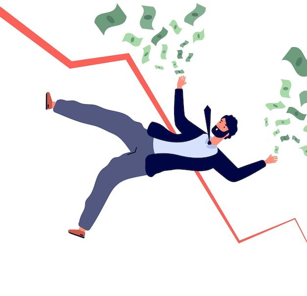 Koncepcja kryzysu finansowego. biznesmen spada z finansowego wykresu i traci pieniądze. upadłość i recesja. ilustracja kryzys biznesmena, problem finansowy, upadek akcjonariusza