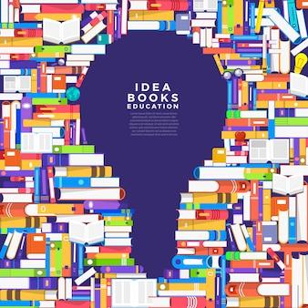 Koncepcja książka jest żarówką. skonfiguruj książkę z pomysłem icon. zilustrować.