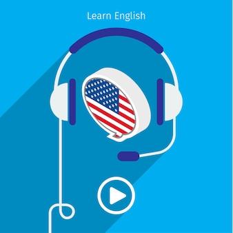 Koncepcja książki audio w języku angielskim lub nauki języka angielskiego.