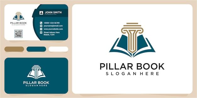 Koncepcja książki i ikona linii miecza filaru. symbol adwokata prawnika. ilustracja wektorowa. logo filaru
