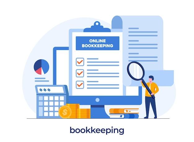Koncepcja księgowości online, koncepcja finansowa, księgowość, analityk i audyt, płaski szablon wektora ilustracji