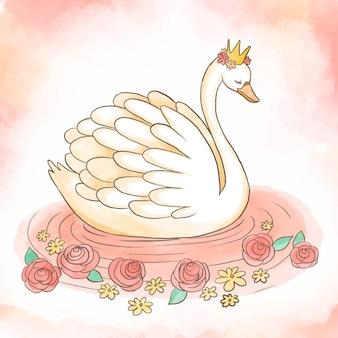 Koncepcja księżniczki piękny łabędź