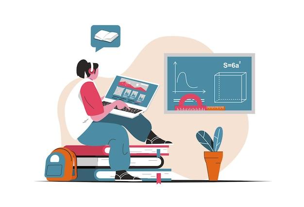 Koncepcja kształcenia na odległość na białym tle. edukacja online, e-learning, webinarium szkoleniowe. scena ludzi w płaskiej konstrukcji kreskówki. ilustracja wektorowa do blogowania, strony internetowej, aplikacji mobilnej, materiałów promocyjnych.