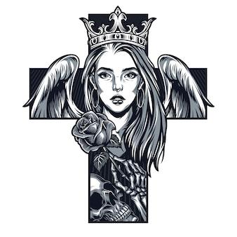 Koncepcja kształt krzyża dziewczyny chicano