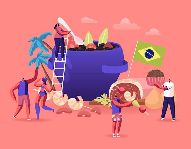 Koncepcja kuchni brazylijskiej. płaskie ilustracja kreskówka