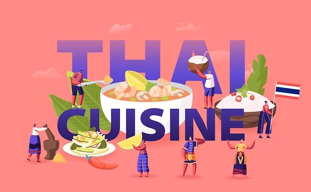 Koncepcja kuchni tajskiej. drobne męskie postacie żeńskie turystów i rdzennych mieszkańców jedzących i gotujących tradycyjne potrawy z tajlandii, płaska ilustracja kreskówka