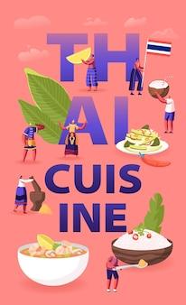Koncepcja kuchni tajskiej. płaskie ilustracja kreskówka